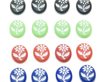 Tiny Daisy Matte Glass Vintage Cabochons (set of 4) in Your Choice of Color