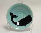 "Sperm Whale Bowl in aqua  7 x 1 3/4"" SHIPS PRIORITY for the holidays"