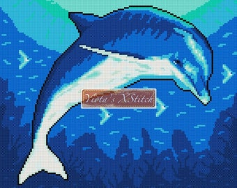 Deep sea dolphin - ocean counted cross stitch kit