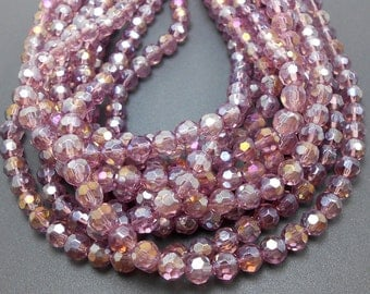 50 Purple Faceted Glass Beads 6mm (H2392)