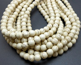 BULK - 10 Strands of 50 Pieces (500 Pieces Total) Natural White Howlite Beads 8MM (BH6)