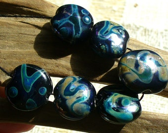 lampwork beads/sra lampwork/beads/midnight/silver/reactive/Double Helix/black and silver/silver foil/steampunk/