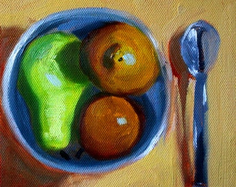Kitchen, Still Life, Oil Painting, 6x6 Canvas, Original, Fruit Bowl, Spoon, Green Gold, Brown Pears, Blue, Wall Decor, Small Food Art