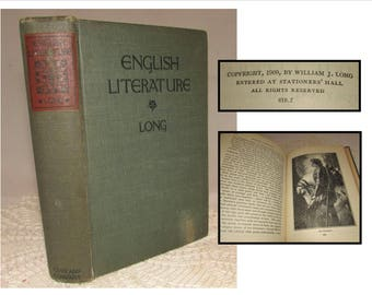Vintage Hardcover Book, English Literature, A Text Book for Schools by William Long, 1909, Gin and Company Pub