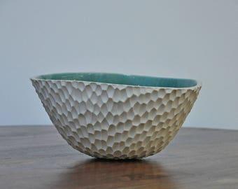 SALE XL Robin's Egg Blue Coneflower Ceramic Bowl - Ceramic Bowl Blue White Ceramic Bowl Handmade Serving Bowl Pottery Bowl