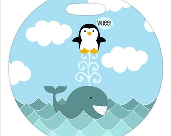 Luggage Tag - Whale and Penguin - 2.5 inch or 4 Inch Round Plastic Bag Tag