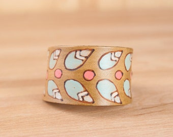 "Leather Wrist Cuff -  Petal Pattern with Modern Flowers and Leaves - Womens Leather Bracelet - 1.5"" wide in Sage, Pink and Brown"