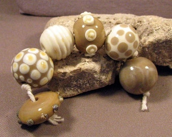 Handmade Lampwork Beads by Monaslampwork - Taupe and Neutrals - Lampwork Glass by Mona Sullivan Designs dots Organic Bohemian Boho