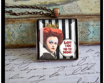 I Love You To The Moon, watercolor art pendants, gift boxed,Valentine's Day gifts, the queen of hearts form Tim Burton's Alice in Wonderland