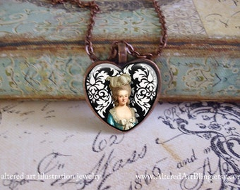Marie Antoinette, altered art, heart pendants, gift boxed, ready to ship,  Marie Antoinette pendants, Paris, Valentine,heart jewelry