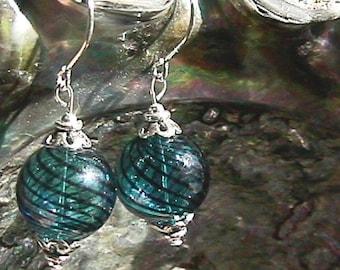 Sterling Silver Hand Blown Blue Swirl Glass Beaded Earrings (1) Pair 925 SS