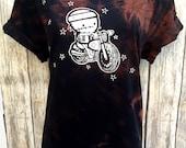 A (Ladies XL) Zombie Biker BlackTie Dye Dark Mtx swirl orange Organic T-shirt by Love Rocky The Zombie