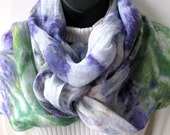 Hand Dyed Linen Scarf for Women Spring Scarf Linen Scarf Green purple scarf pantones greenery  scarf unique scarves gift for her mom fashion