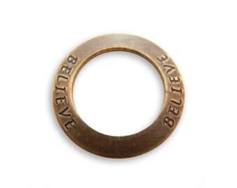 4 BELIEVE Affirmation Rings, Vintaj Natural Brass  (P123)