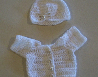 "Crochet White Doll Sweater and Hat for American Girl or Cabbage Patch 16""-18"""