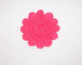 Crochet Watermelon Pink 5-layer Mum Flower Applique Large