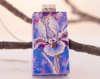 Iris Necklace - Dichroic Flower Pendant - Glass Jewelry - Fused Dichroic Glass Necklace -