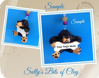Black and tan Bloodhound  Dog Christmas Bone Ornament Sallys Bits of Clay PERSONALIZED FREE with dog's name