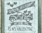 Valentine SVG File - Truck With Hearts SVG - Special Delivery svg - All Of My Love svg - Commercial Use  - svg, dfx, png and jpg