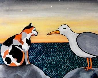 Calico Cat and Seagull Shelagh Duffett -  Print