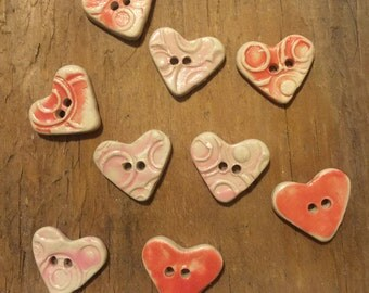 FREE SHIPPING Set of 9 Handmade Mini Ceramic Buttons - Pink Hearts