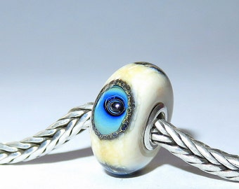 Luccicare Lampwork Bead - Blue Eyes -  Lined with Sterling Silver