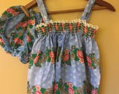 Vtg Cotton Botanical Baby Sundress and Bloomers 2 years