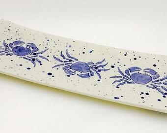 Platter. Crab Narrow Platter. Crab. Crustacean. Housewarming. Wedding. Handmade by Sara Hunter
