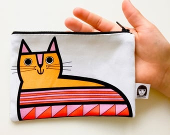 NEW retro rainbow cat purse / make up bag by Jane Foster - cat fabric pouch