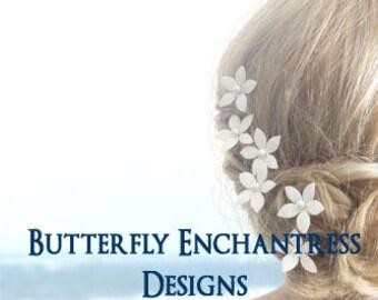 SALE Wedding Hair Flower, Bridal Hair Accessories, Pearl Hair Pins, Hair Piece, Bridesmaid Headpiece Gift - 6 White Thea Stephanotis Flowers