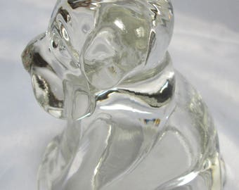 Grumpy Little Dog Vintage Glass Candy Container