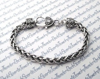 Antique SILVER CHUNKY Chain BRACELET Blank with Large Lobster Clasp