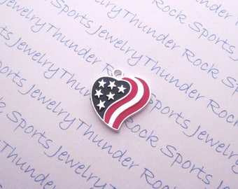 3 patriotic AMERICAN FLAG CHARMS, Antique Silver, hearts, Pendants, Stars, Stripes, 4th of July, military, veteran, Veteran's, Memorial Day