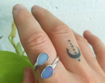 DOUBLE OPAL ADJUSTABLE ring  // sterling silver // made to your size in byron bay // australian opal // adjustable