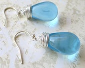 Earrings aquamarine simple czech glass beads with silver wire wrapping