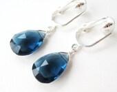 Navy Blue Clip On Earrings, London Blue Quartz Stone Dangle Clipons, Faceted Dark Blue Teardrop Clip Earrings for Non Pierced Ears, Midnight