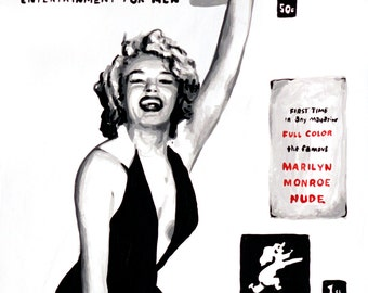 """Marilyn Monroe Playboy Magazine cover signed 18x24"""" Art on canvas giclee"""