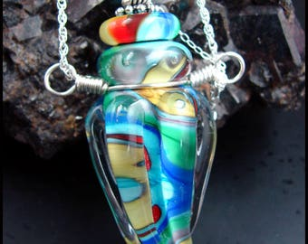 Beadworx - Glass Lampwork Bottle Pendant - Rainbow Portal