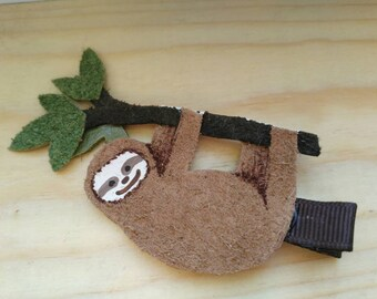 Sloth Leather Hair Clip #3
