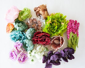GRAB BAG #1 - Over 35 Mini to Extra Large Size Flowers in Mixed Colors - Silk Artificial Flowers
