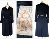 Pendleton Trench Coat Navy Wool vintage Coat Dress Sz. Sm  70s Trench Dress