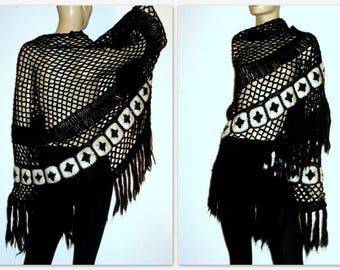 Vintage Shawl 70s Fringe Boho Cream Crochet Shawl Extra Long Triangular Wrap One Size