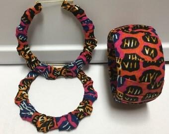 Pink, Dark Blue and Orange Animal Print Ankara Bangle