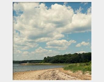 Square Landscape Art, Falmouth Beach Photo, Green Blue Art, Blue Green Print, Puffy Clouds, Landscape Photograph, Massachusetts Coast Photo