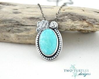 The Glass Turtle - King Me!  - Kingman Turquoise & Silver Pendant