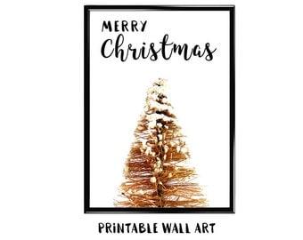 Christmas Holiday Print Wall Art Printable Greeting Card Bottlebrush Tree Digital Download 5x7 8x10 A4 A5