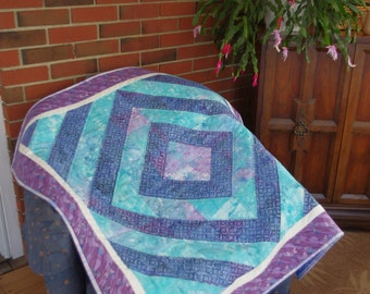 Diamond Quilted Wall Hanging, Purple, Turquoise, Diamond Design, Small Lap Quilt
