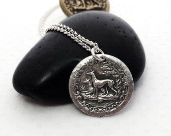 Friendship Greyhound Necklace - Greyhound - Greyhound Jewelry - Vintage Greyhound Button - Fine Silver - Whippet - Galgo - Italian Greyhound