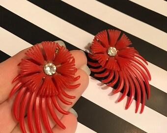 1950s earrings red earrings clip on earrings feather earrings plastic earrings rockabilly earrings