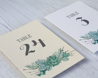 Succulent Wedding Table Numbers - Greenery Table Number Cards - Wedding Table Decor - Table Numbers for Weddings - Ferns and Eucalyptus